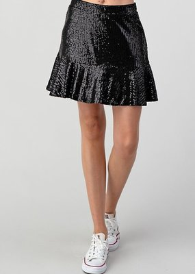 Sequin Ruffle Mini Skirt