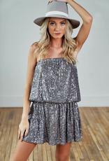 Sequin Strapless Dress - Silver Grey