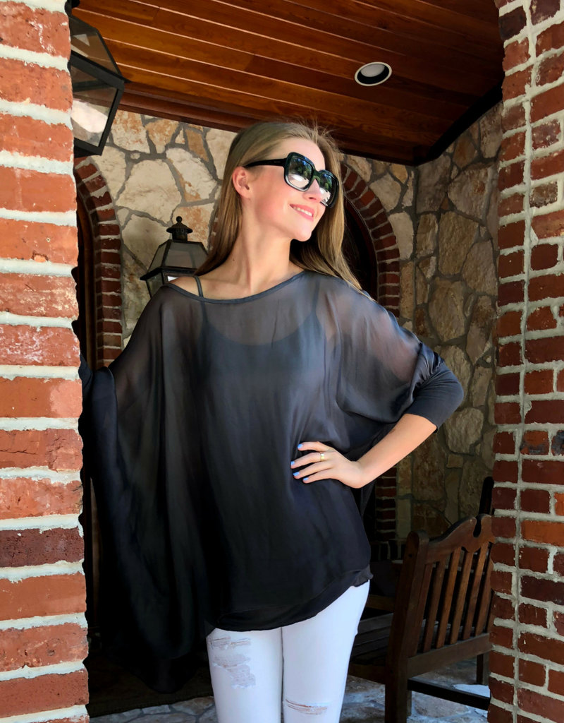 BLOUSE  WITH CAMI CHARCOAL
