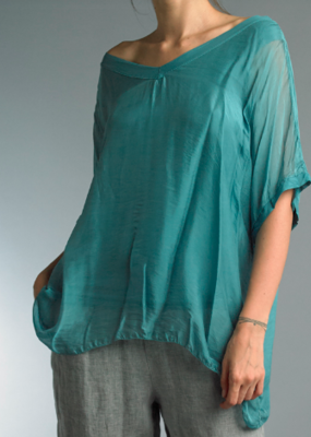 Tempo Paris Silky V-Neck Top, Teal