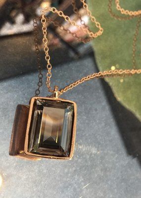 Diana Warner-Emerald Cut Necklace on thin 16'' chain
