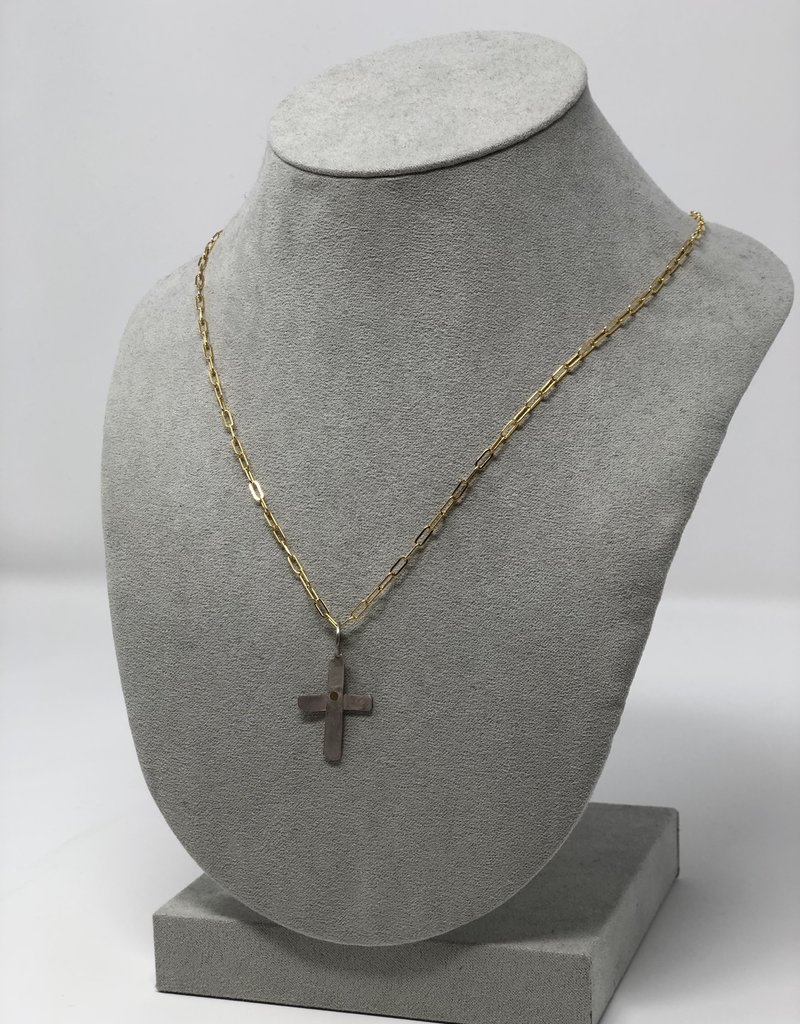 Hammered  Silver Cross Necklace - Holly Mills N13