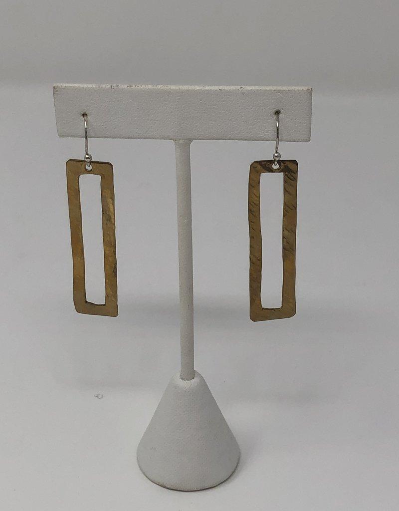 Rectangle Gold Dangle Earrings - Holly Mills E38