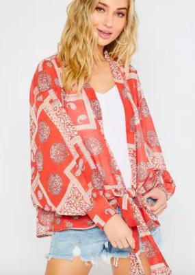 Bluivy Paisley Chiffon Kimono in Coral