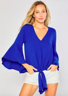 Bluivy Front Tie Blouse in Royal