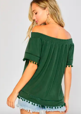 Bluivy Pom Pom Trim Top in Green
