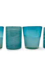 Indigo Faire Mex Handblown Glasses Aqua