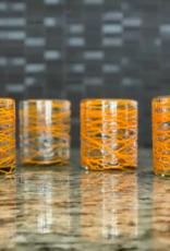 Indigo Faire Mex Handblown Glasses Orange