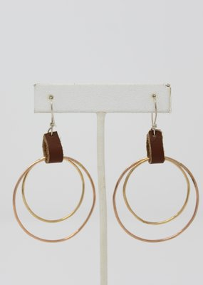 Leathered Double Hoop - Holly Mills - E32