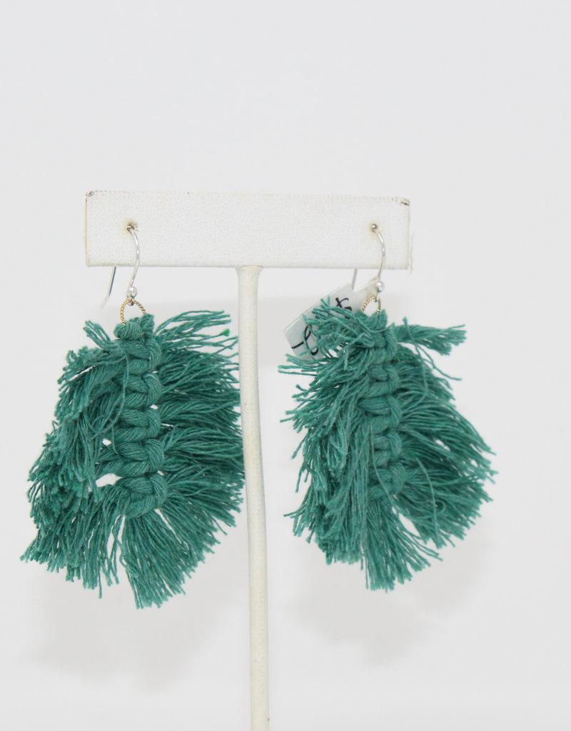 Blue Macrame Dangling earrings - Holly Mills E46