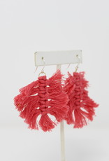 Pink Macrame Dangling earrings - Holly Mills E46