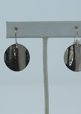 Hammered Circle Dangle Earrings - Holly Mills