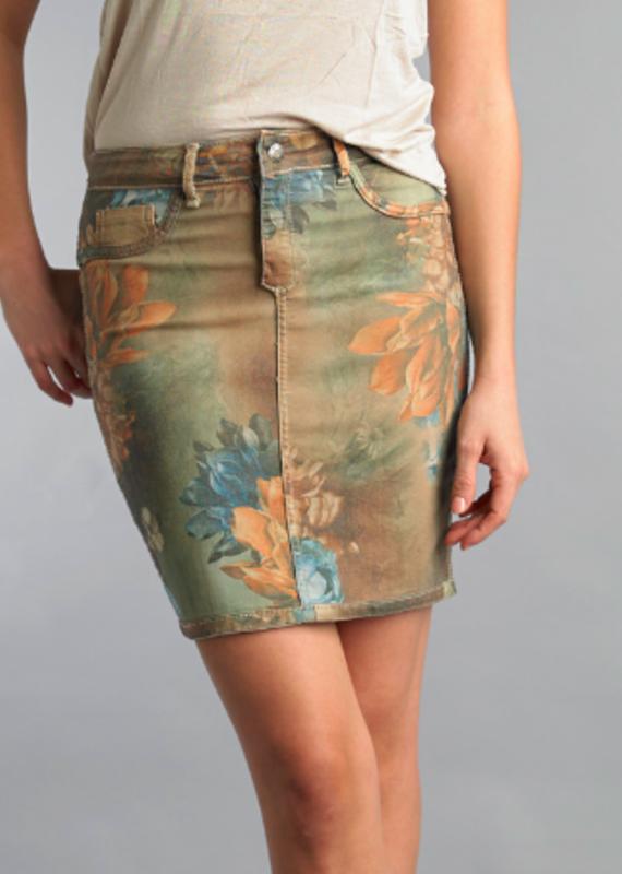 Tempo Paris Floral/ Khaki Reversible Skirt