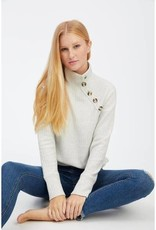 Socialite Mock Neck Button Sweater Oatmeal