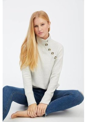 Socialite Mock Neck Button Sweater Oatmeal