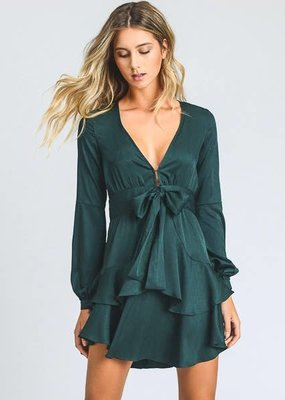 Storia Front Tie V Neck Mini Dress Emerad
