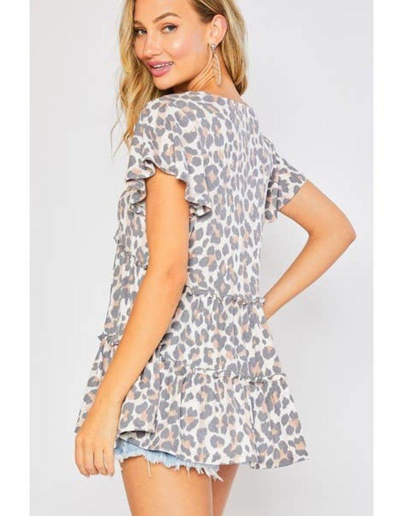 Bluivy Animal Print Ruffle Hem Top
