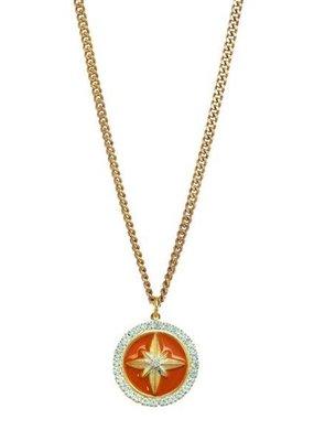 TOVA North Star Pendant Necklace- Orange