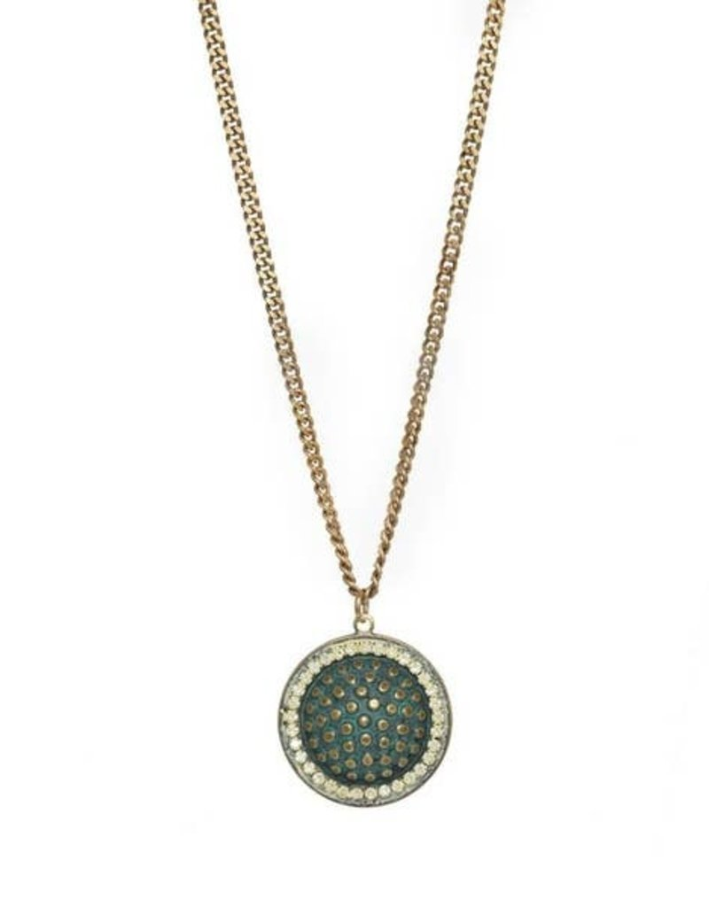 TOVA Gold and Mint Dome Pendant Necklace