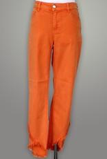 Renuar Orange Woven Pant Fringe Detail