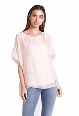 Sofia Pink Camisole with Chiffon Overlay One Size