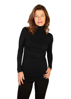 Skinny Tees Skinny Tees - Ruched Turtleneck Black