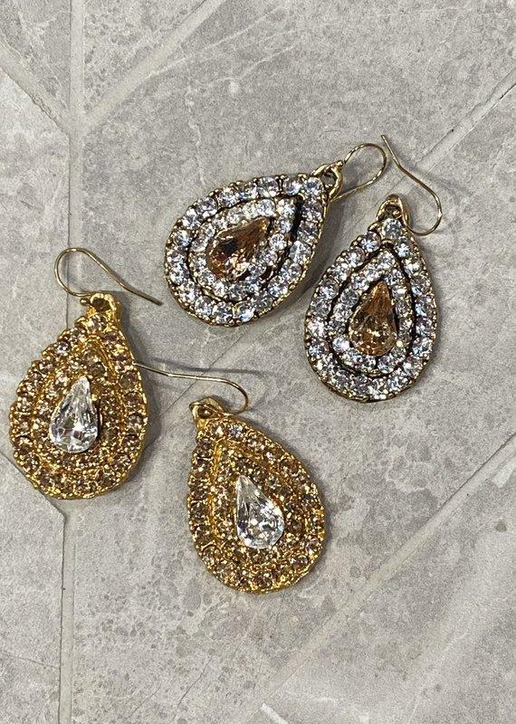 Diana Warner-Chelsea earring-large teardrop shaped earring with center teardop stone