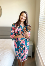 Aspen Lane Teal Peony 3-Piece Maternity Set
