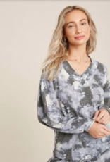 Bluivy Tie Dye V Neck Top Blue