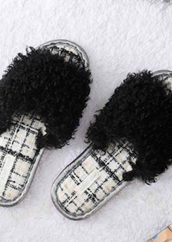 DrifWoo Fuzzy Indoor Slippers Black