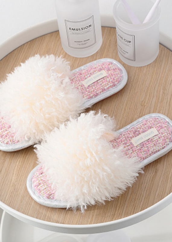 Drif Woo Fuzzy Indoor Slippers Ivory