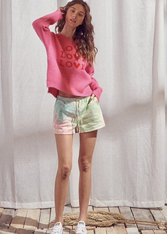 Storia Love Print Knit Sweater Hot Pink
