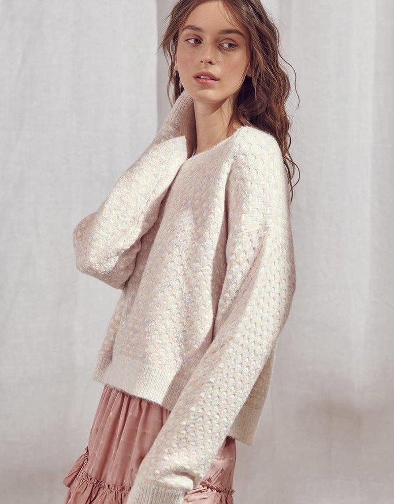 Storia Overlay Multi Color Knit Pattern Sweater Ivory