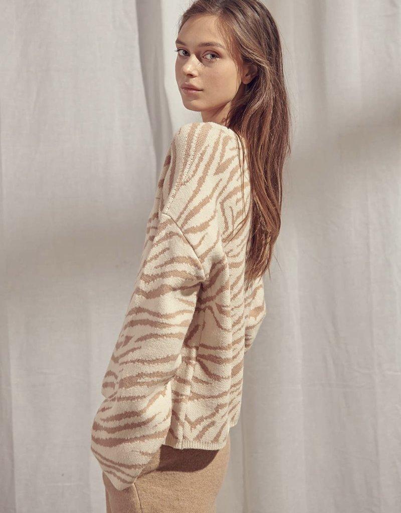 Storia Taupe Zebra Print Pullover Sweater