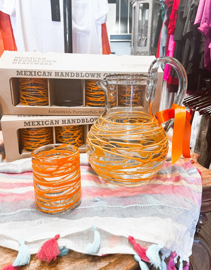Verve Culture Mexican Handblown Pitcher Orange Swirl