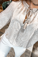 Fate Paisley Print Bodysuit / Tassel Tie Neck