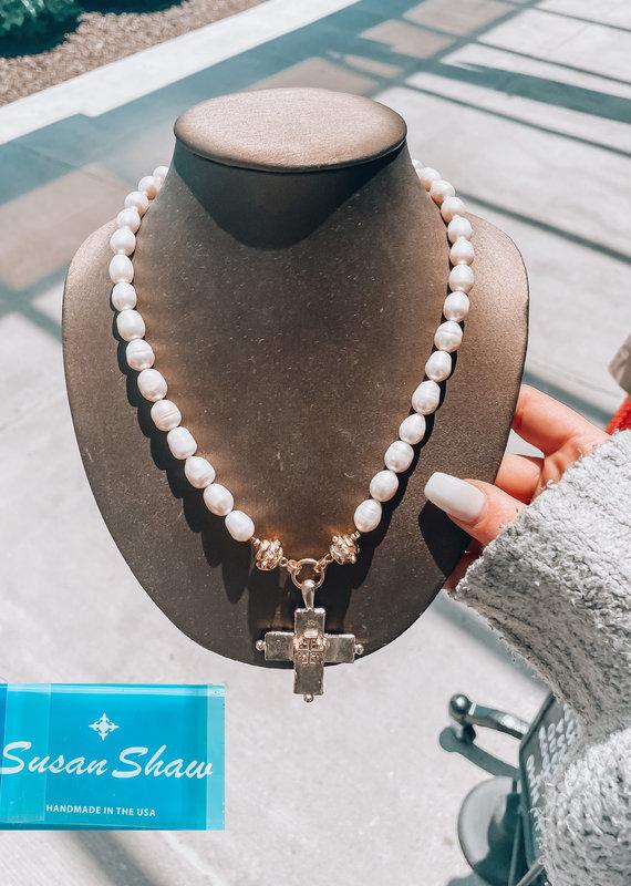 Indigo Faire Gold Jerusalem Cross & Pearl Necklace