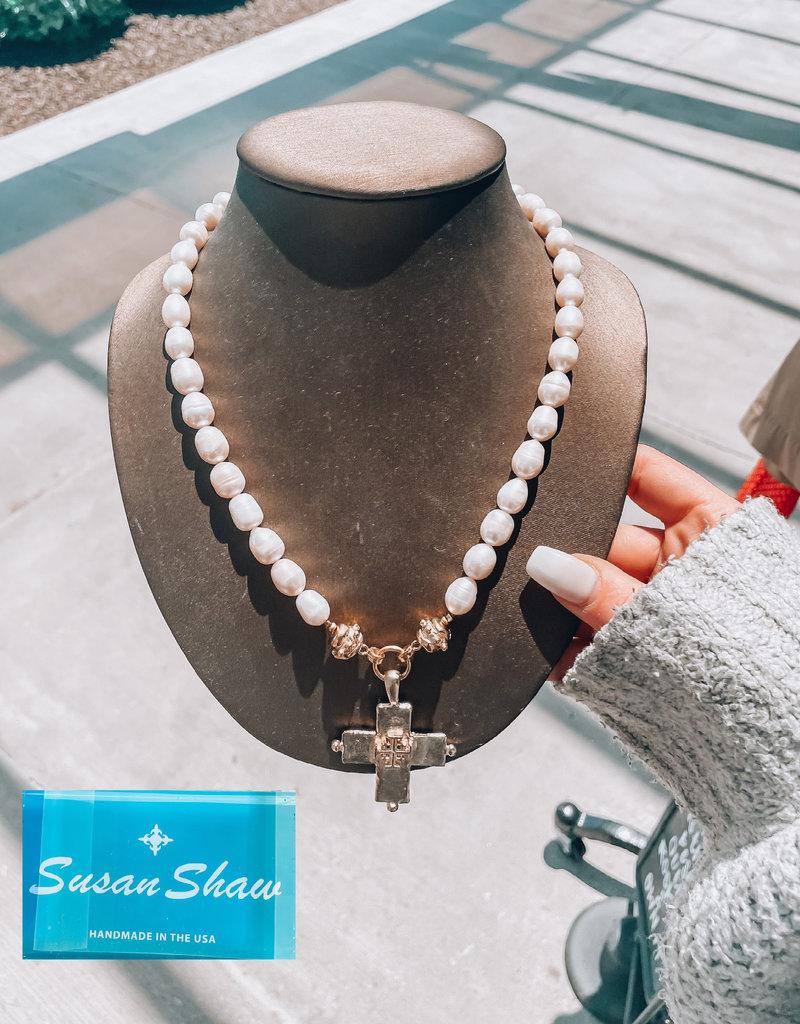Indigo Faire Faire- Susan Shaw Gold Jerusalem Cross & Pearl Necklace