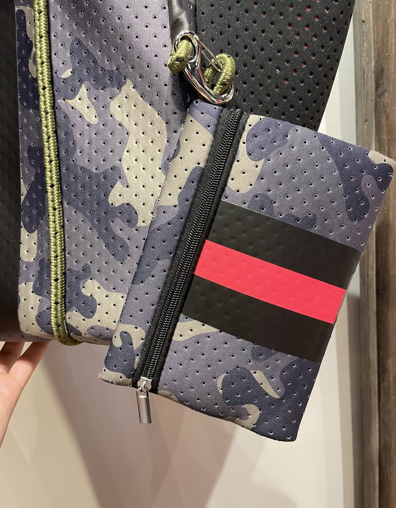 faire  Neoprene Tote Green Camoflage with red stripe