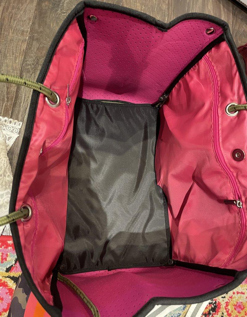 faire  Neoprene Tote Green Camoflage Hot Pink/Orange Stripe
