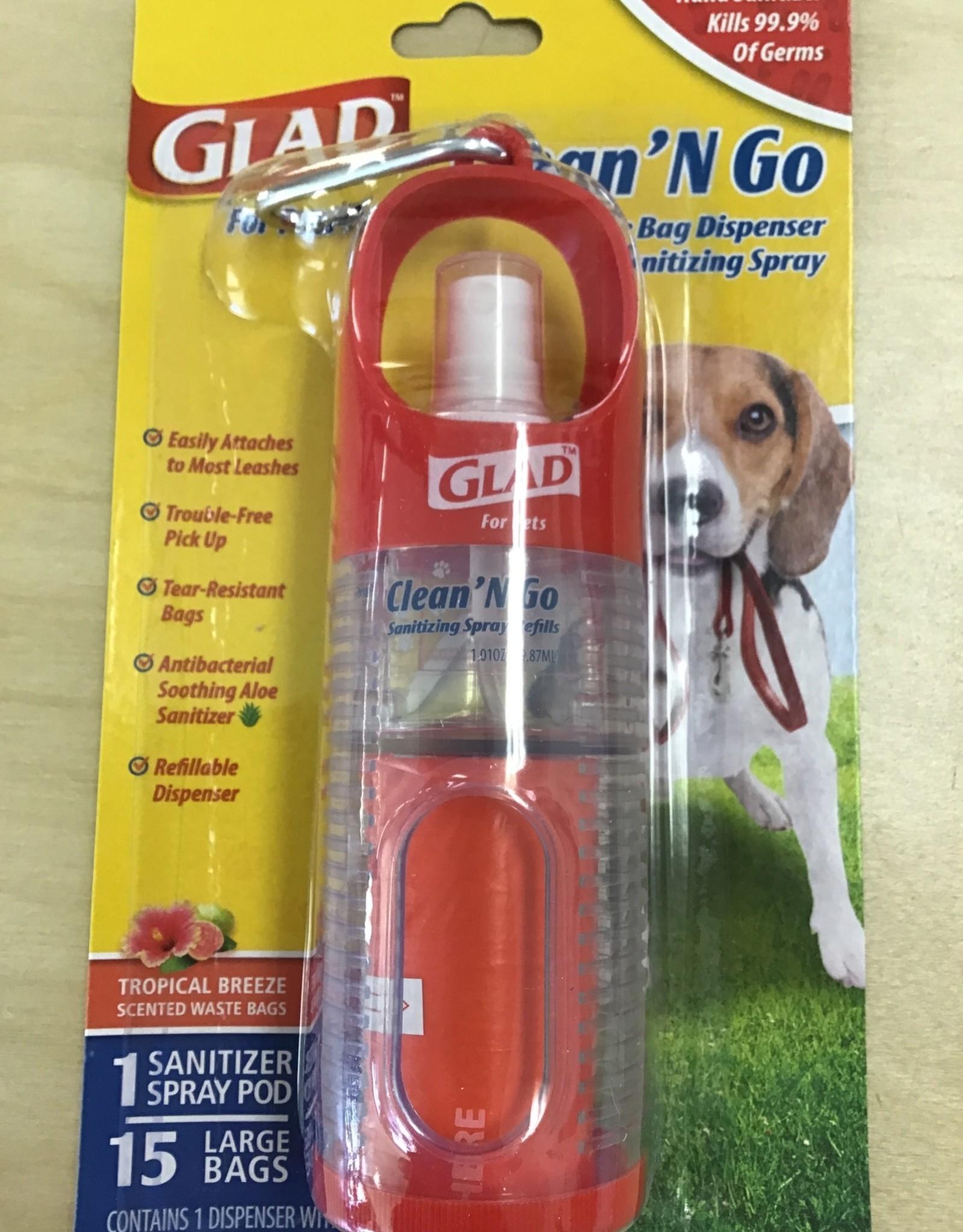 Glad Clean N Go Waste bag dispenser & Hand Sanitizer