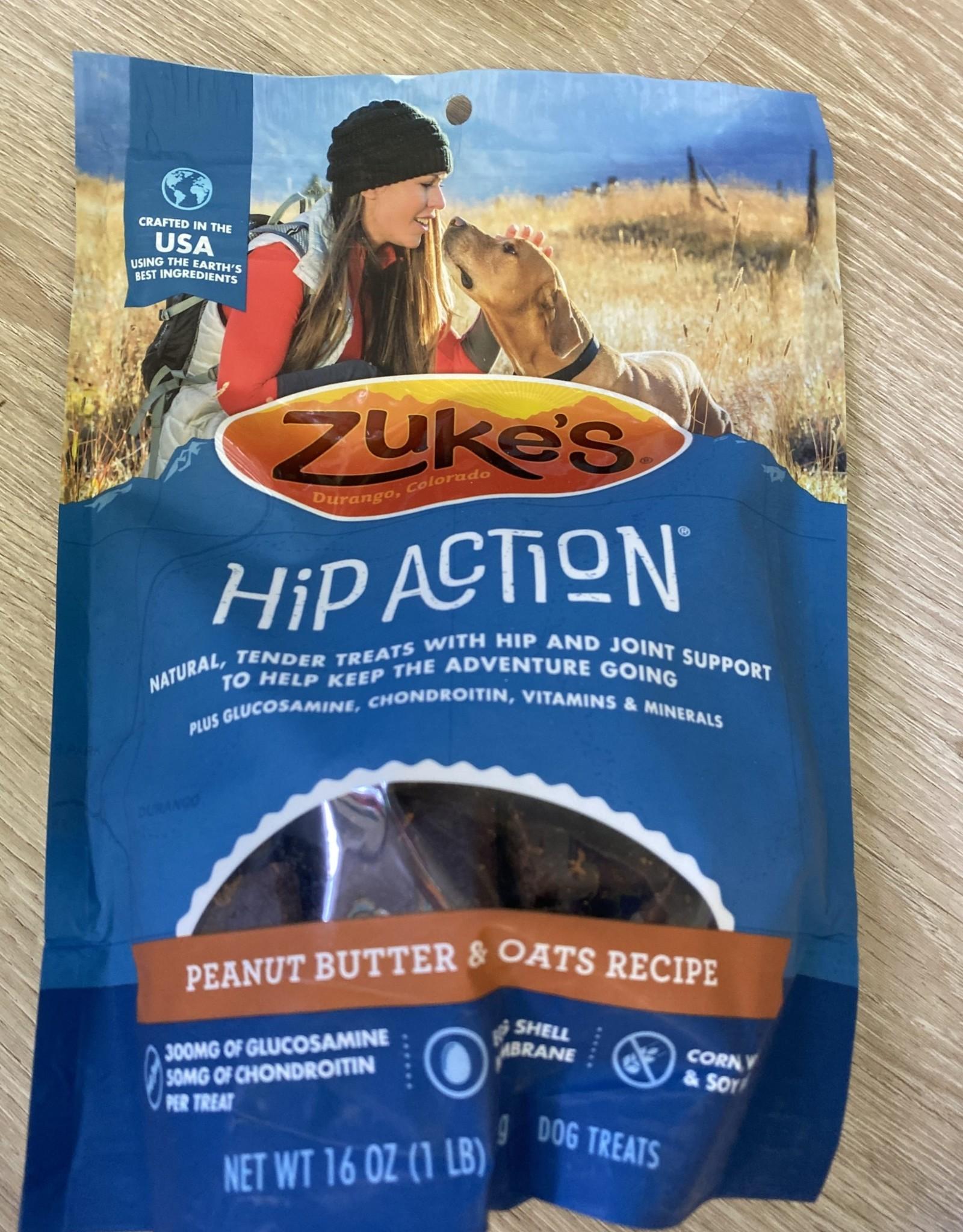 Zukes Hip Action Treats - Peanut Butter & Oats Lg bag