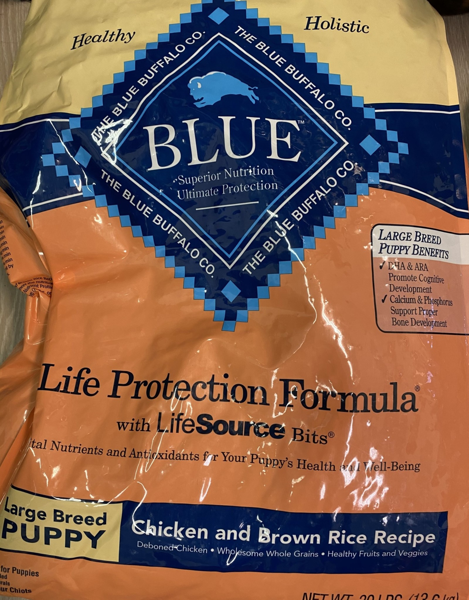 Blue Buffalo Life Protection Dog Food 30 lbs Puppy Large Breed Chicken & Brown Rice