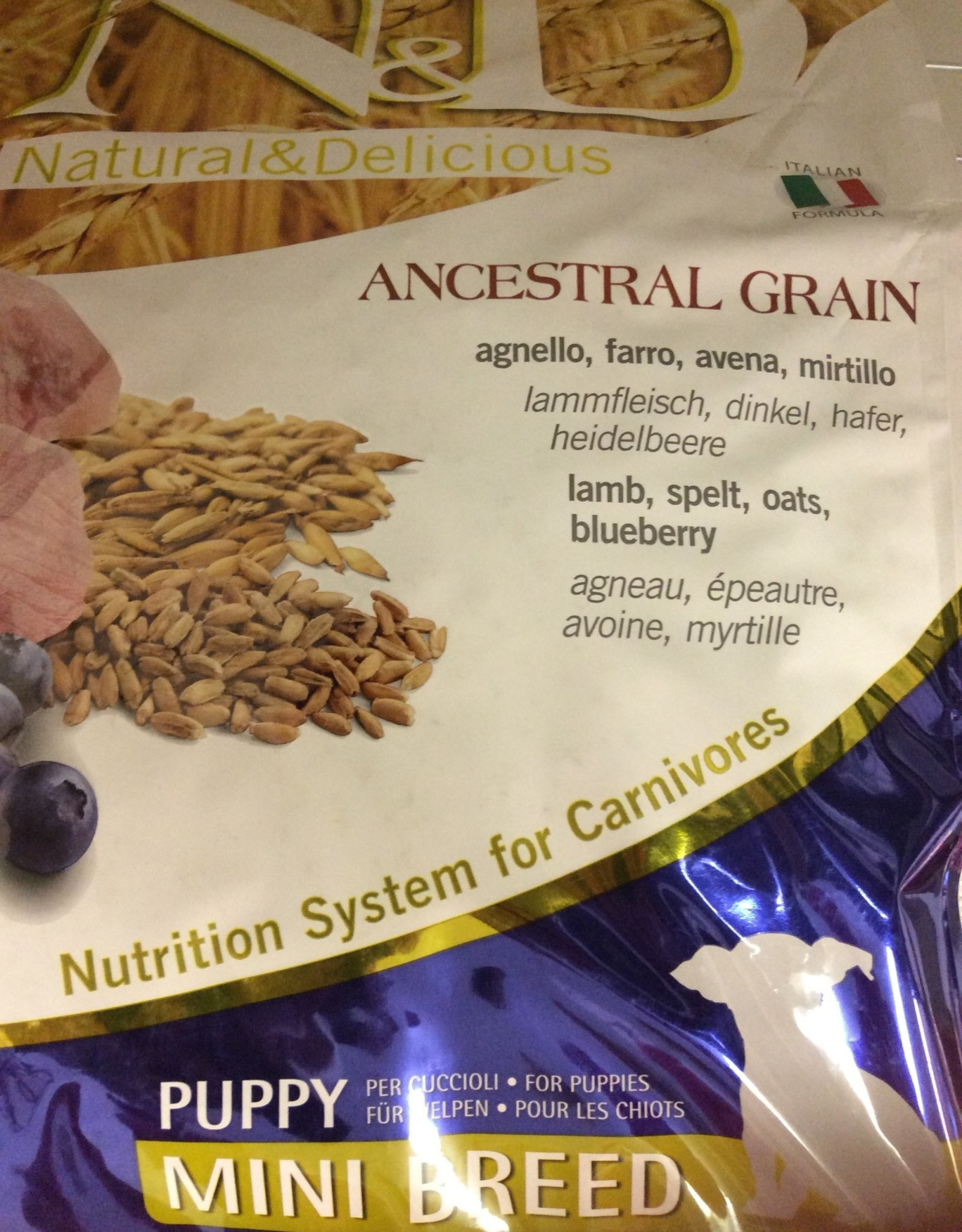 Farmina Dog Dry Food - Ancestrial Grain 15.4LB Lamb & Blueberry Puppy Mini