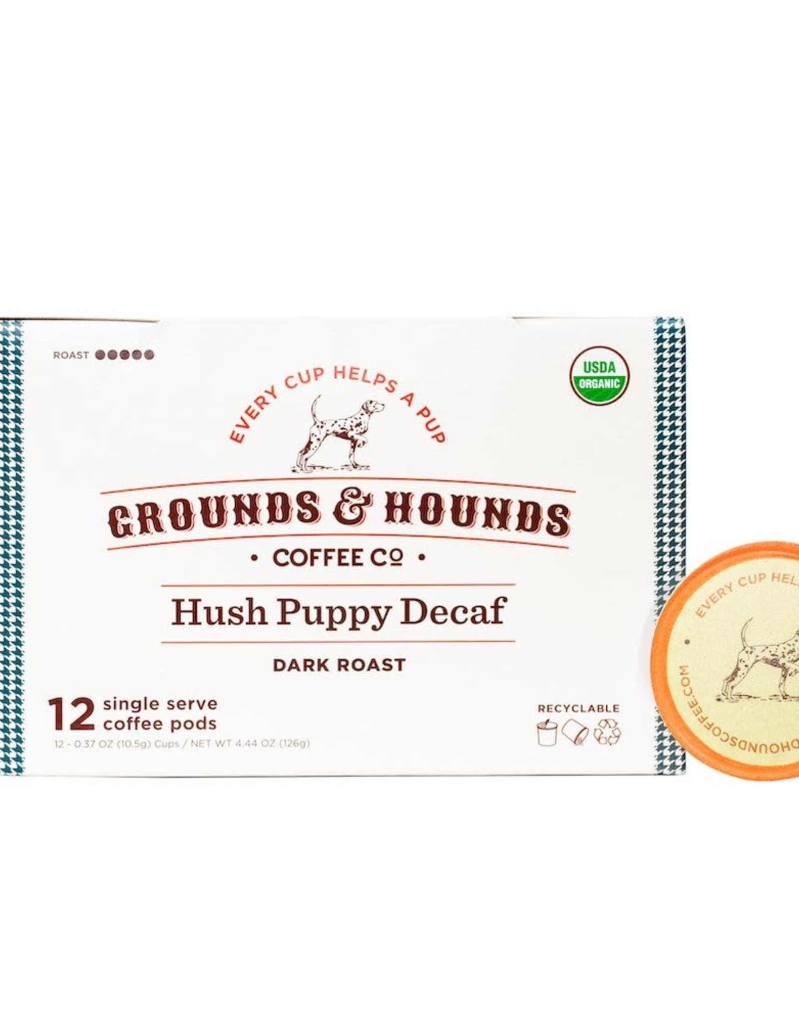 Grounds & Hounds Coffee K-Cups Hush Puppy Decaf