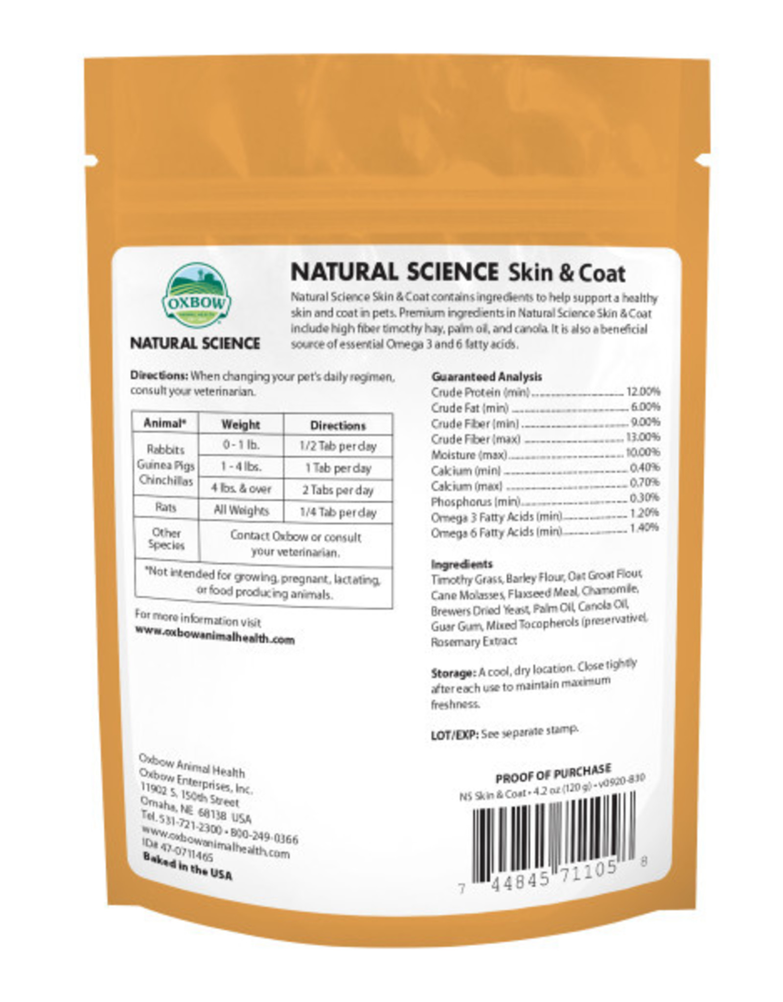 Oxbow Natural Science Skin & Coat Supplement