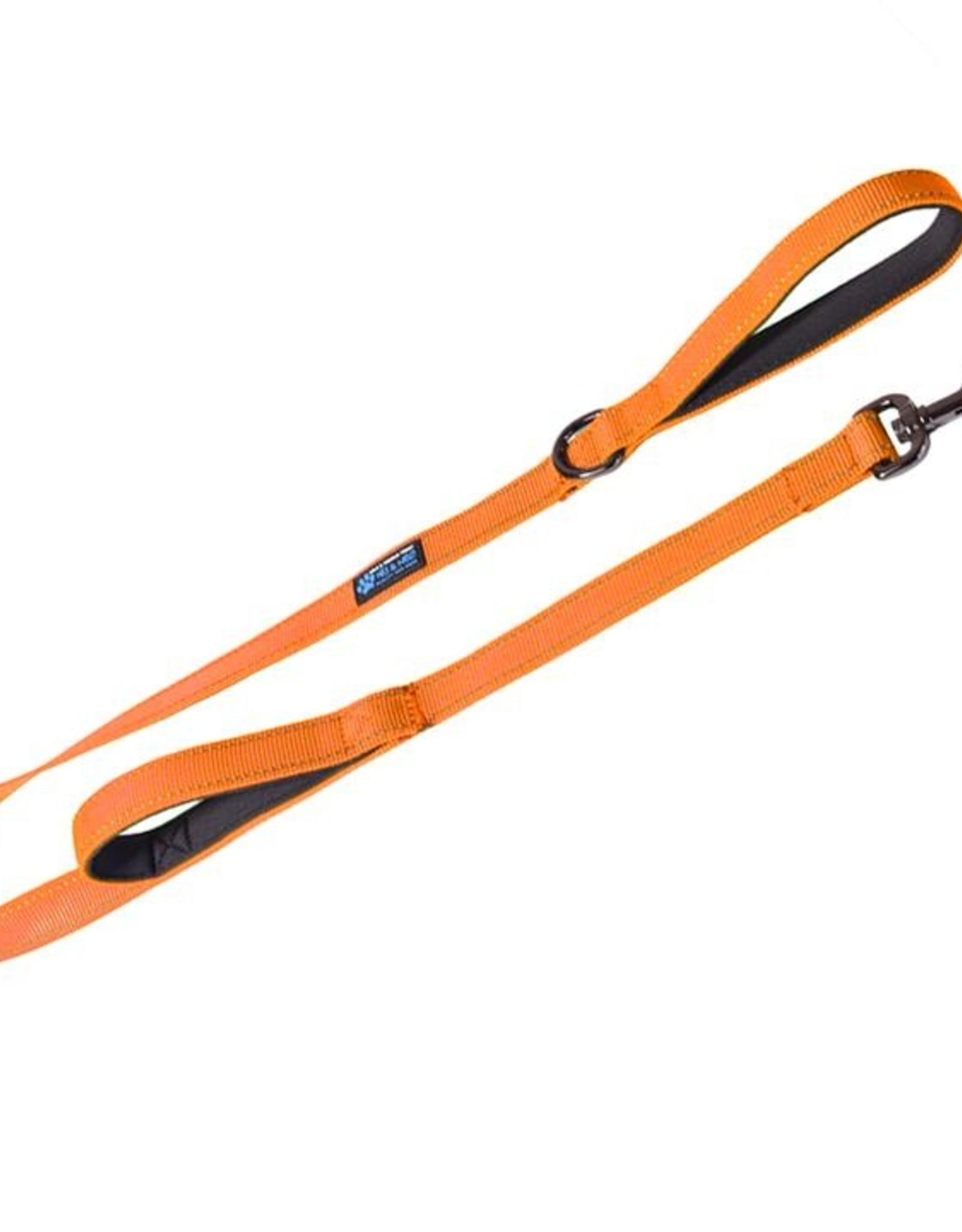 Max & Neo Double Handle Leash-  Orange 4ft