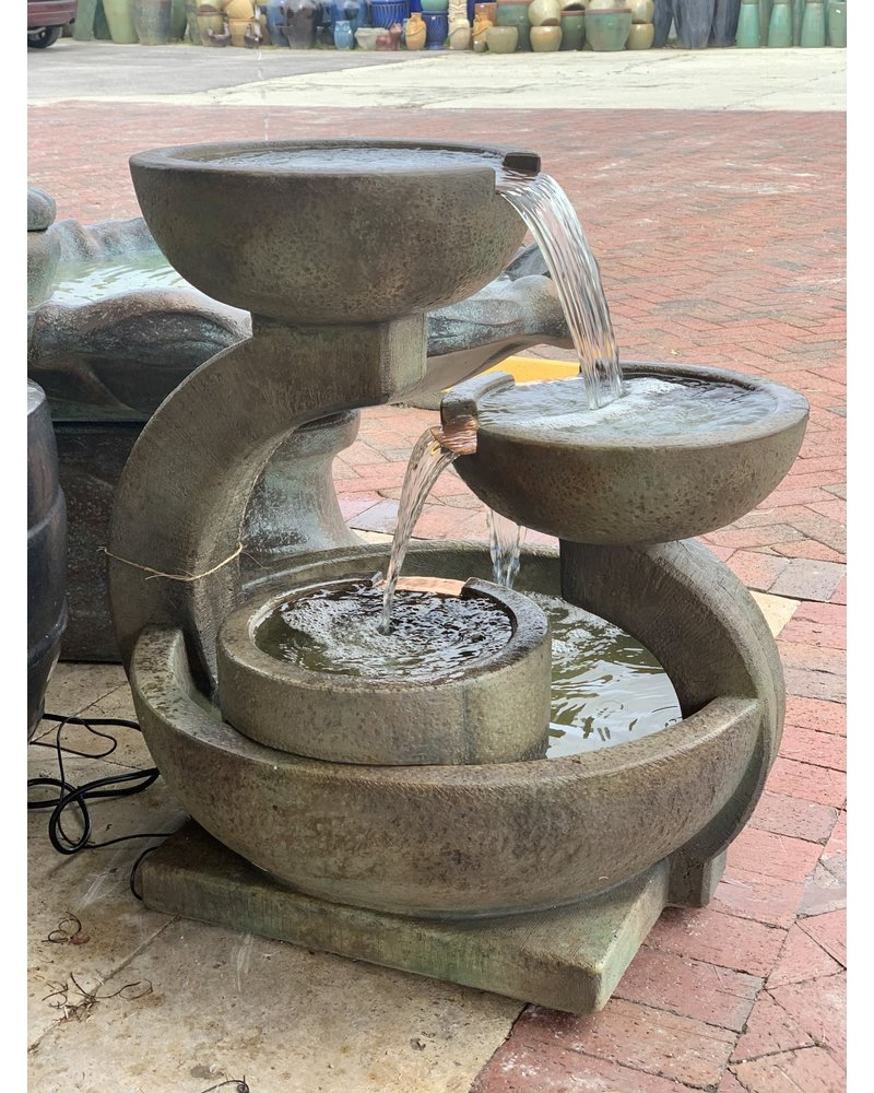 Zen Three-Bowl Fountain Stained In Relic Nebia