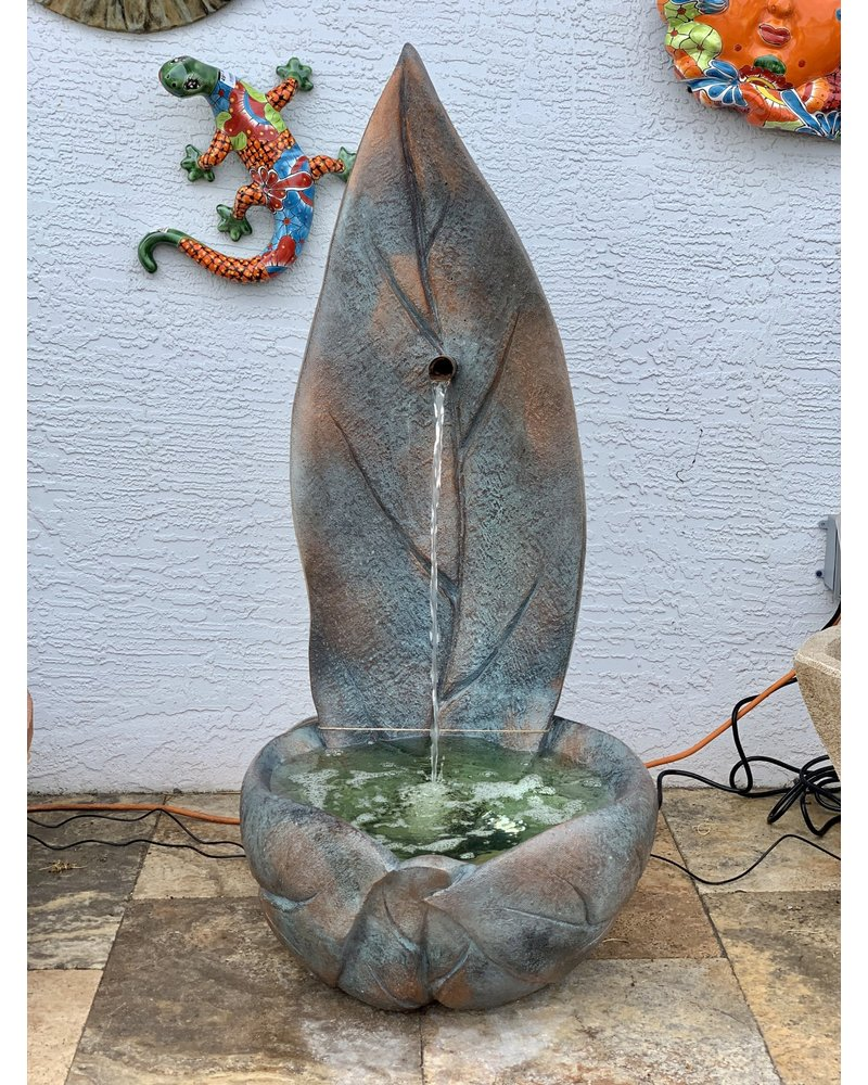 STANDING LEAF FOUNTAIN STAINED IN BRONZE PATINA