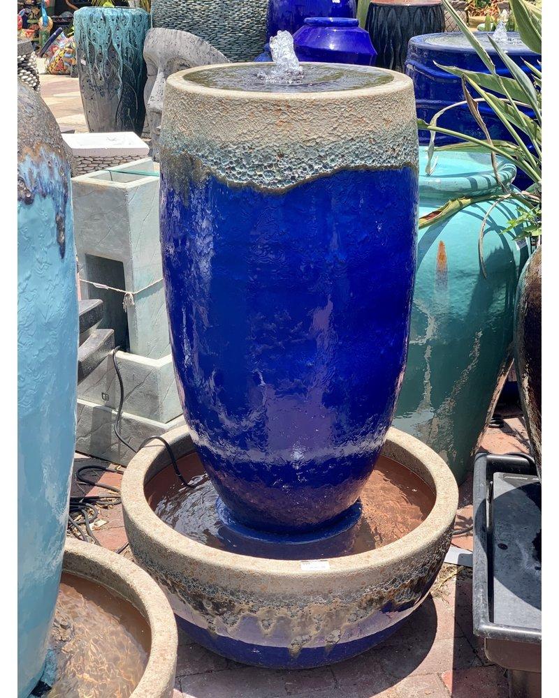 Open Mouth Lava Barrel Fountain Cobalt